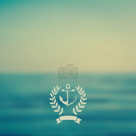 Illustration for Vector web and mobile interface template. Corporate website design. Minimalistic web multifunctional media backdrop. Ribbon badge label over sea background. Vector. Editable. Blurred. Unfocused. Ocean - Royalty Free Image