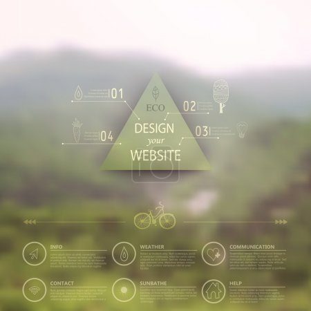 Illustration for Vector web and mobile interface template. Corporate website design. Minimalistic multifunctional media backdrop. Vector. Editable. Blurred. Triangle badge label, mountain landscape. Options, Icon - Royalty Free Image