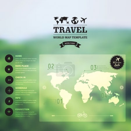 Illustration for Vector watercolor map, web and mobile template. Corporate website design. Web media backdrop. Travel. Blurred. Background. Calligraphy badge. Website icons template. - Royalty Free Image