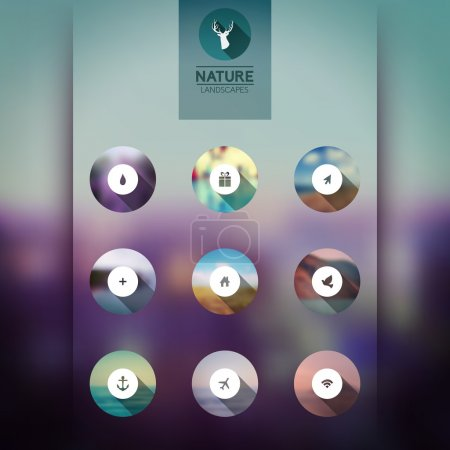 Illustration for Vector web and mobile interface template icons, blurred circles landscape. Corporate website design. Minimalistic multifunctional media backdrop. Editable. Blurred. - Royalty Free Image