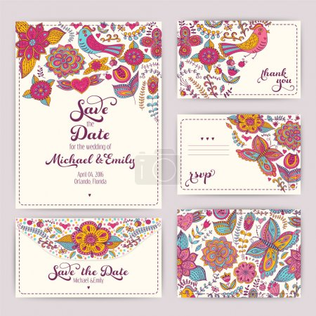 Illustration for Printable Wedding Invitation Template: invitation, envelope, thank you card, save the date cards. Wedding set. RSVP card. Marriage event. Valentine, seamless pattern is masked and complete. - Royalty Free Image