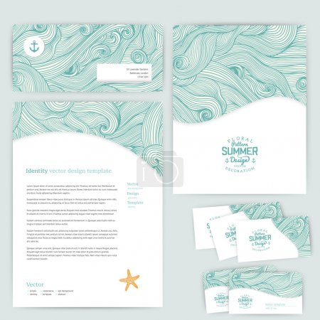 Illustration for Vector corporate identity, wave pattern. Abstract backdrop. Maritime banner design template. Brand, visualization, corporate identity business set. Identity Design Template. Card, envelope. - Royalty Free Image