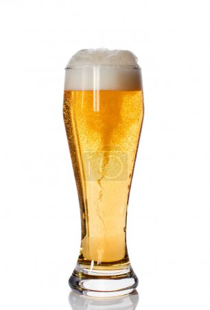 Glass of beer with high foam