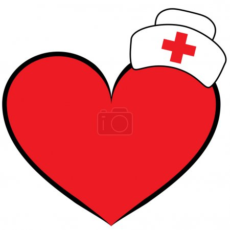 Illustration for Nurse cap on heart - Royalty Free Image