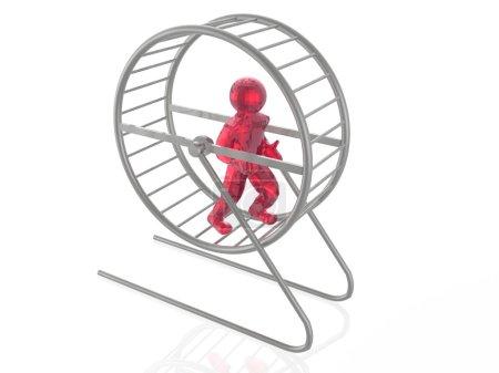 Photo pour Homme dans la cage de l'écureuil sur fond blanc . - image libre de droit
