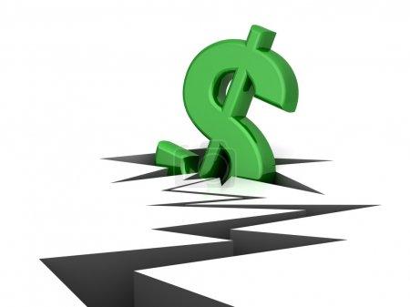 Photo pour Le dollar tombe dans une fissure - image libre de droit