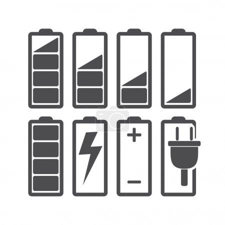 Illustration pour Ensemble d'indicateurs de niveau de batterie. Illustration vectorielle. - image libre de droit