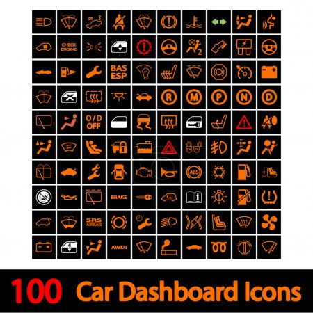 Foto de 100 iconos de tablero de mandos de coche. ilustración vectorial. - Imagen libre de derechos