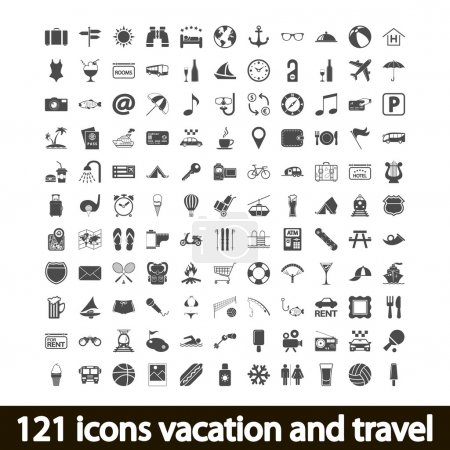 Illustration for 121 icons vacation and travel. Vector illustration. - Royalty Free Image