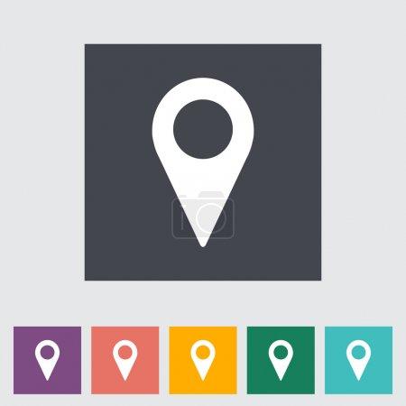 Illustration pour Pointeur de carte plat icône unique. Illustration vectorielle . - image libre de droit