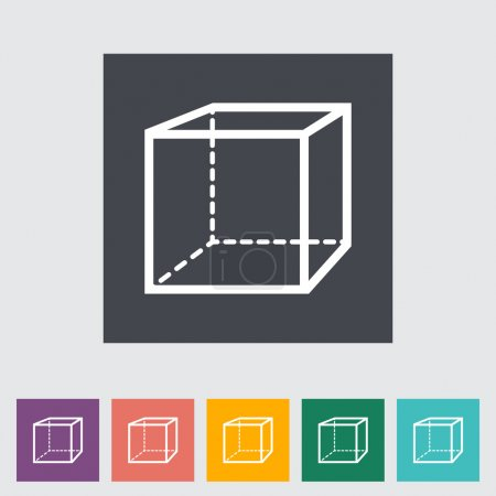 Illustration for Geometric cube. Single flat icon. Vector illustration. - Royalty Free Image