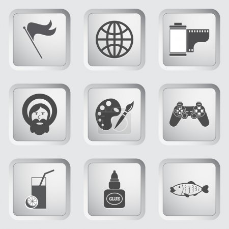 Icons on the buttons for Web Design. Set 7