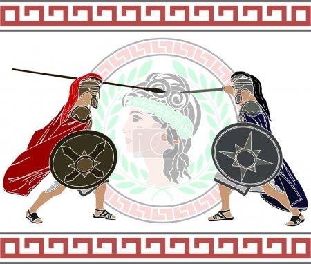 Trojan war. stencil. second variant. vector illust...