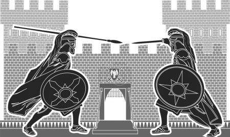 Fight of two knights. vector illustration...