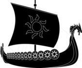 Viking ship stencil second variant vector illustration