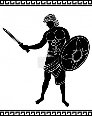 Ancient swordsman. stencil. vector illustration...
