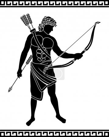 Ancient bowman. stencil. vector illustration...