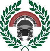 Roman helmet and wreath