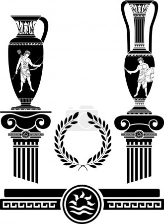 Stencil of ancient columns and jugs. vector illust...