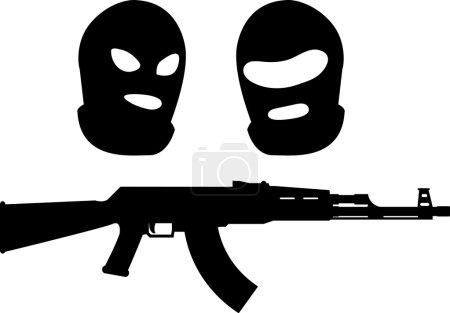 Balaclavas and machine gun. vector illustration...