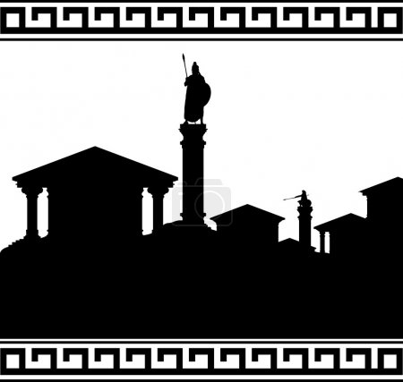 Silhouette of ancient city. vector illustration...