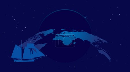 Illustration for Travel vector background with constellations and tall ship - Royalty Free Image