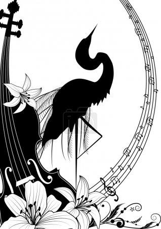 violin and heron