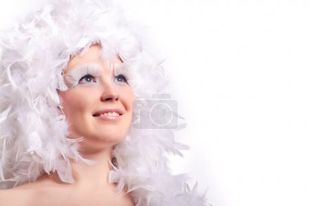 Woman with feather hairs