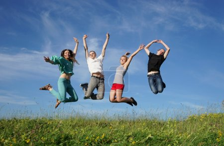 group of jumping people