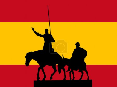 Illustration for Silhouette of Madrid on Spanish flag background - Royalty Free Image