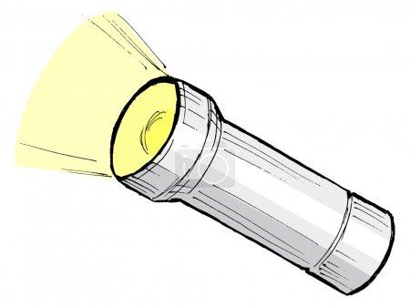 Illustration for Hand drawn, cartoon, sketch illustration of metallic flashlight - Royalty Free Image
