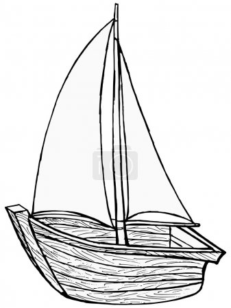 Illustration for Hand drawn, cartoon, vector illustration of sailboat toy - Royalty Free Image