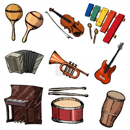 Illustration pour Jeu d'illustration de croquis d'instruments de musique - image libre de droit