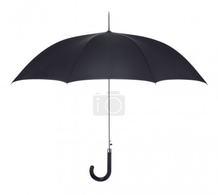 Black umbrella on white background