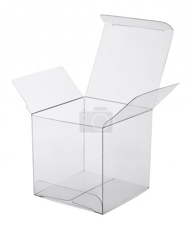 box of transparent plastic on a white background