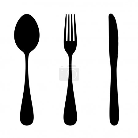 Spoon, fork and knife. Vector silhouette.