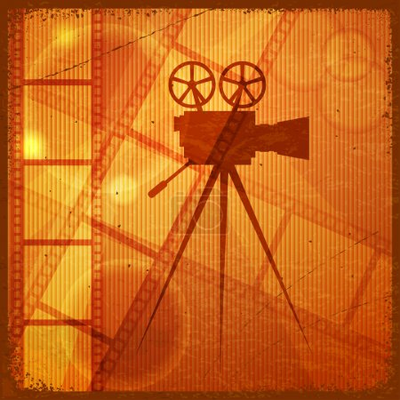 Photo for Vintage orange background with the silhouette of movie camera - Royalty Free Image