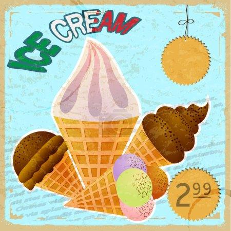 Illustration pour Carte vintage avec une photo de crème glacée - image libre de droit