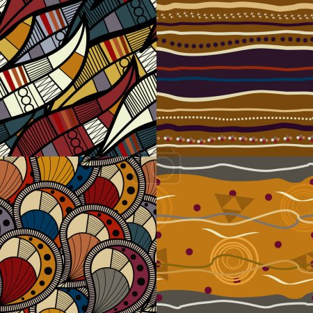 Illustration for Set of African seamless patterns - Royalty Free Image
