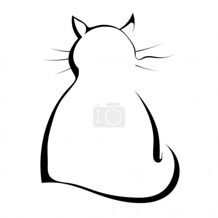 Silhouette of a black cat on a white background