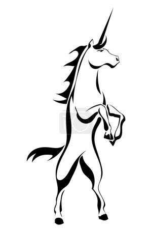 Black silhouette tattoo a rearing unicorn