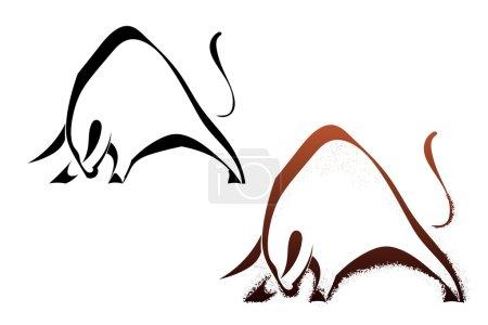 Illustration pour Deux silhouettes taureau sauvage - image libre de droit