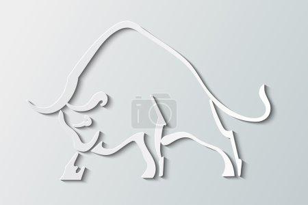 Illustration pour Silhouette taureau sauvage sur fond gris - image libre de droit