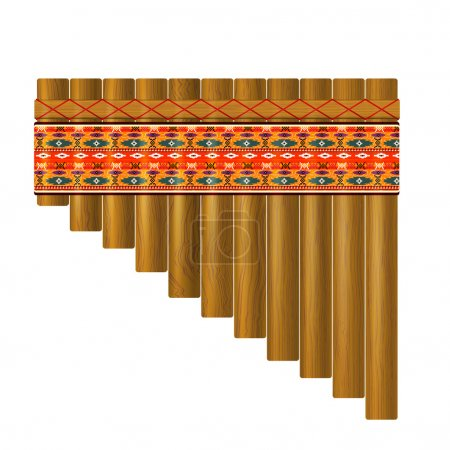 Realistic portrayal of the pan flute with traditional Indian pat