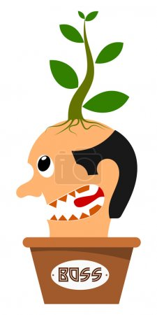 Abstract image of the head boss in a flowerpot. Vector illustrat
