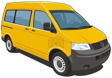 Illustration pour Vecteur isolé van passager et fret sur fond blanc sans dégradés et transparence Format EPS8 . - image libre de droit