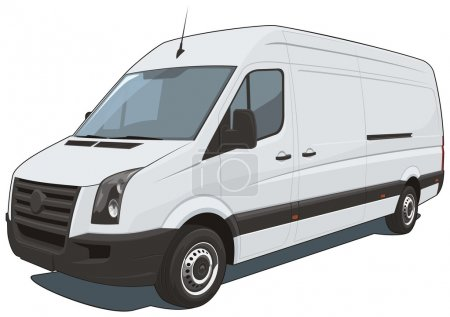 Illustration for Vector isolated commercial van on white background, without gradients and transparency EPS8 format. - Royalty Free Image