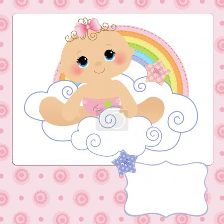 Illustration for Cute template for baby arrival announcement card - Royalty Free Image