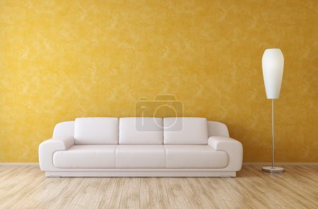 Photo pour Canapé et lampadaire en cuir blanc sur fond mural en stuc orange dans une pièce intérieure moderne - image libre de droit