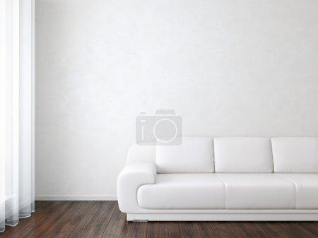 Foto de Moderna habitación interior blanco con sofá - Imagen libre de derechos